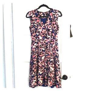 JCrew hibiscus print a-line dress, size 0